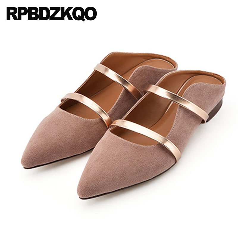 2018 Pink Designer Shoes China Slip On Slippers Pointed Toe Women Mary Jane Large Size Mules Sandals Suede Slides Flats Italian 2018 large size summer korean slides pearl slippers pointed toe designer women sandals ladies china mules beautiful flats shoes