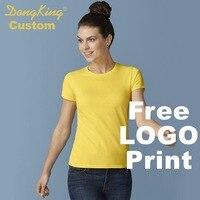 Dongkingカスタムレディースtシャツ半取り付けたクルーネックレディtシャツプレミアムコットン送料プリントロゴパーソナライズシャツ女