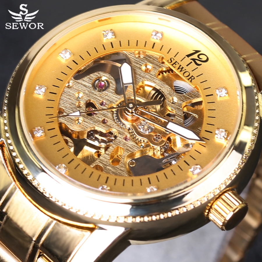 SEWOR New Arrival Luxury Brand Men Watches Men's Casual Automatic mechanical watches diamonds Hour Stainless Steel Sports Watch sewor new arrival luxury brand men watches men s casual automatic mechanical watches diamonds hour stainless steel sports watch