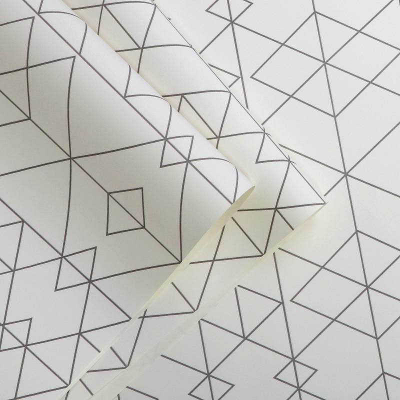 Купить с кэшбэком Noridc Geometric Wall Papers Home Decor White Rhombus Wallpaper Roll for Living Room Bedroom Decoration Mural Papel Pintado