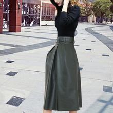 2017 Special Offer Direct Selling Fashion Saia Longa Saias Pu Leather Skirt In Long Skirts The A-line Of Tall Waist Bust Of