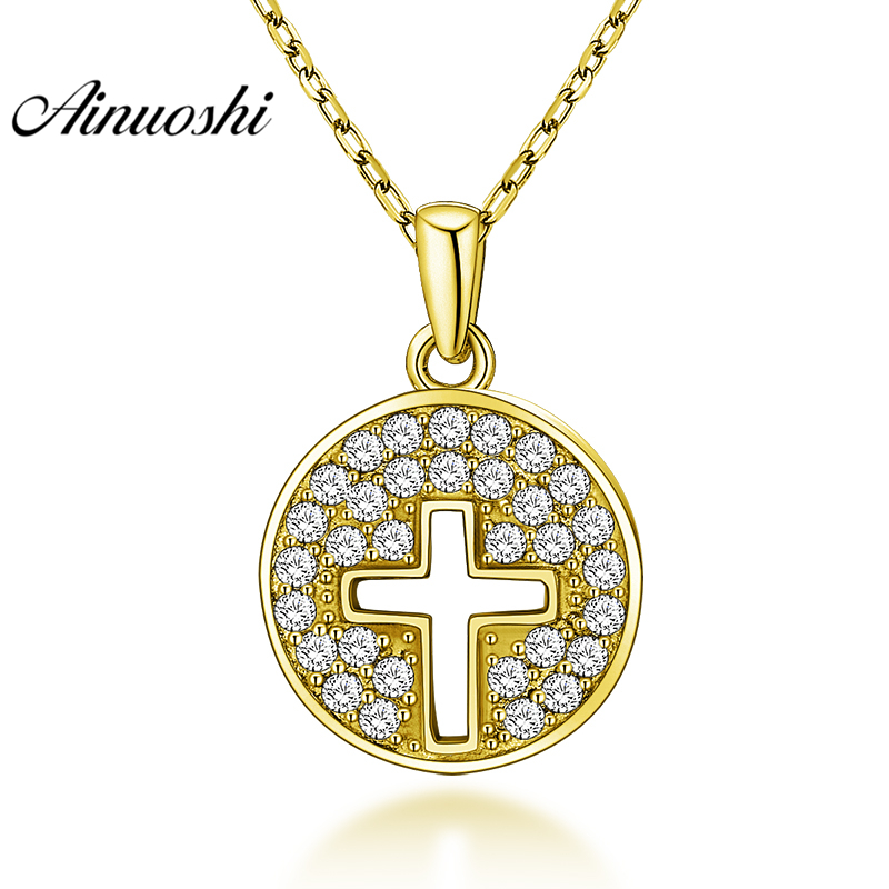 AINUOSHI 10K Solid Yellow Gold Pendant Hollow Cross Pendant SONA Diamond Women Men Jewelry Shining Round Shape Separate Pendant fashion rhinestone hollow out tortile cross shape pendant necklace for men