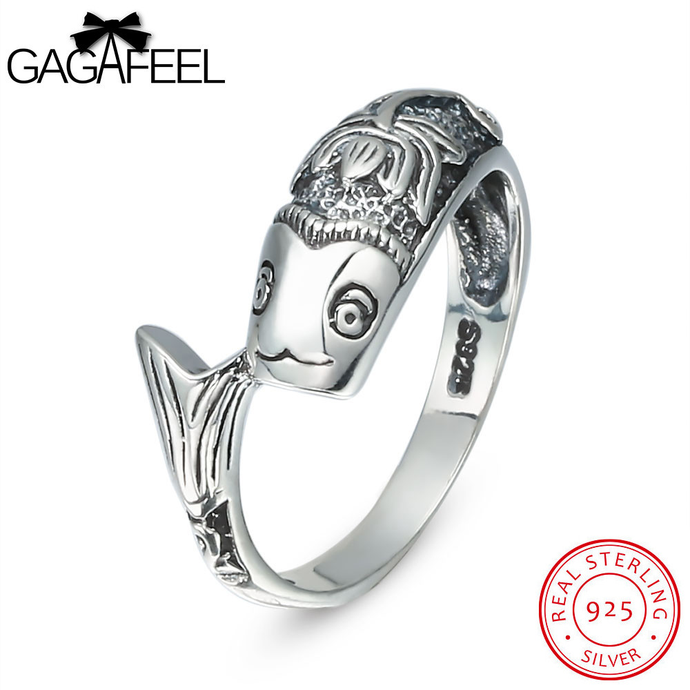 GAGAFEEL Truly Sterling-Silver-Jewelry Fish Lotus Ring For Men Women With 2MM Punk Luxury Gift For Unisex Female Male Accessory