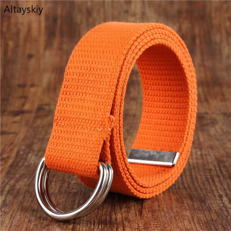Belts Women Simple Solid Canvas All-match Waist Straps Womens Leisure Belt D Shaped Double Ring Buckle Trendy 2020 New Trendy