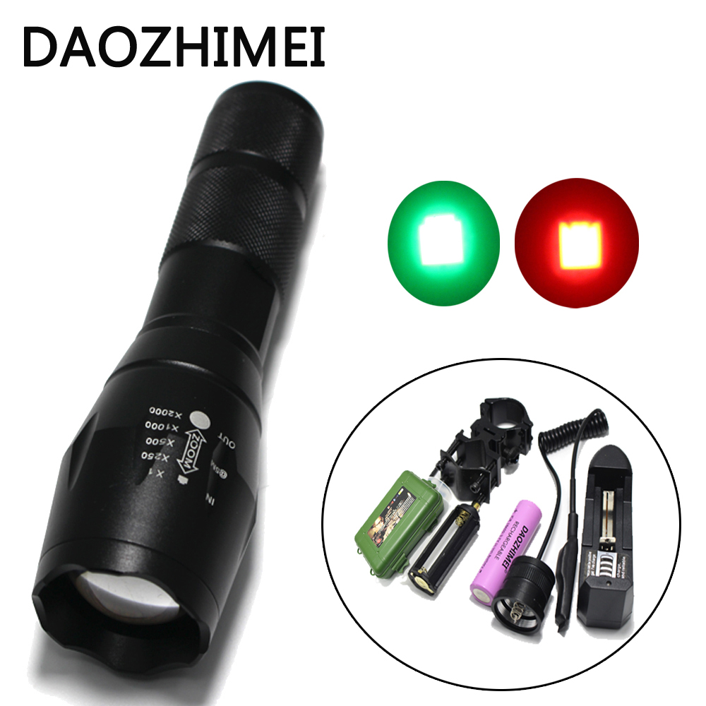 DZM-E17 Охота Зум Зеленый Красный LED Фонарик Свет 18650 Освещение Тактический Фонарь/Дистанционный Переключатель Давления/Крепления/box