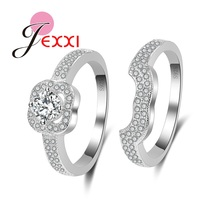 JEXXI Cute Ring Set for Women Girls 925 Sterling Silver Shiny Cubic Zirconia Finger Accessory Jewelry Rings Christmas Gift