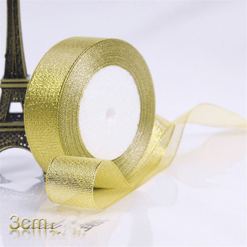HTB1y2ARXjzuK1Rjy0Fpq6yEpFXat Gold/Silver Silk Satin Organza Ribbon 0.6-5CM Glitter Embroidered Onions Ribbons for Wedding Cake Gift Decoration Craft Supplies
