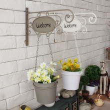 1pc/lot creative indoor decor metal hanging basket wall decor iron flower pots for artificial plants christmas ornament