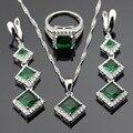 Зеленый Имитационные Изумрудный Белый Серебряные Цвета Ювелирные Наборы Для Женщин Рождественский Подарок Ожерелье Кулон Серьги Кольца