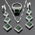 Green Imitated Emerald White CZ Silver Color Jewelry Sets For Women Christmas Gift Necklace Pendant Long Drop Earrings Rings