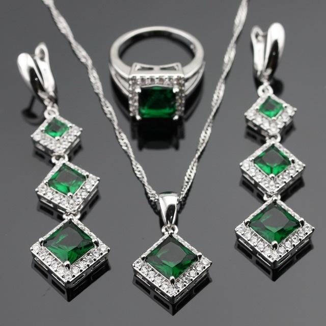 Imitado verde Esmeralda Branco CZ Conjuntos de Jóias de Cor Prata Para As Mulheres Presente de Natal Colar de Pingente Longa Queda Brincos Anéis