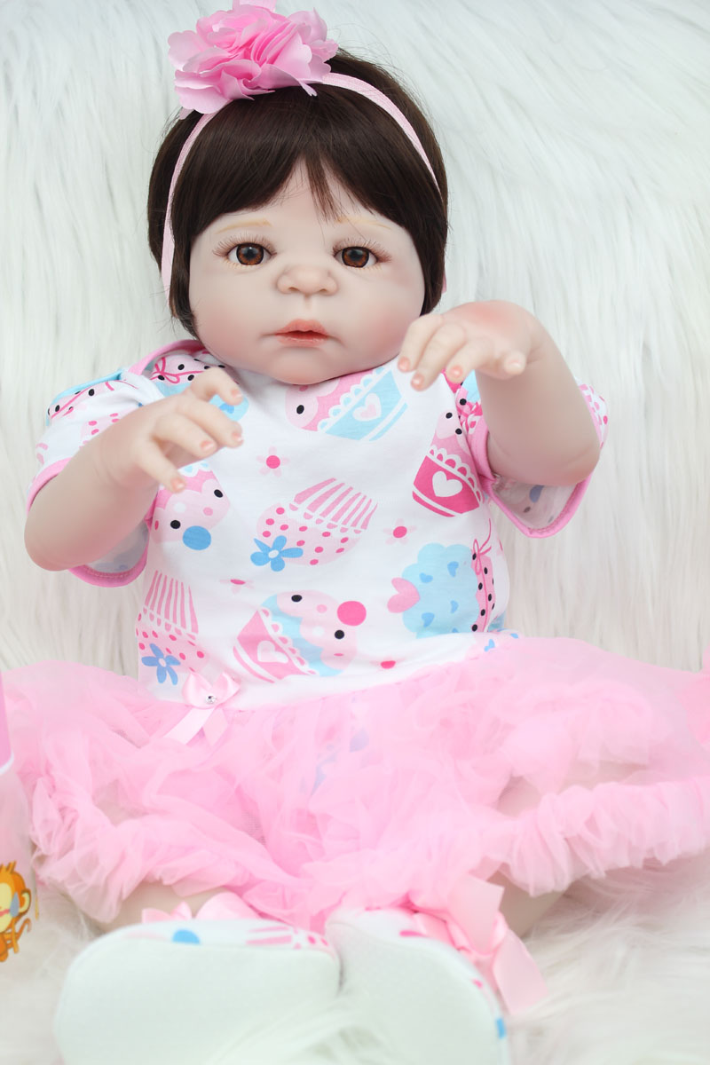 55cm Full Silicone Body Reborn Baby Doll Toy 22inch Vinyl Newborn Princess Girls Babies Doll Lovely Birthday Gift Xmas Present 40cm silicone reborn baby doll toy 16inch newborn princess girls babies dolls birthday xmas gift girls bonecas play house toy