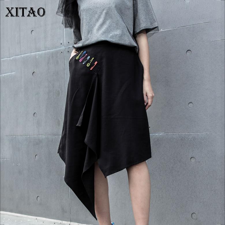 [XITAO] 2019 New Europe Streetwear Loose Elastic Waist Patchwork Handsome   Wide     Leg     Pants   Slim Knee Length   Pants   ZQ1508