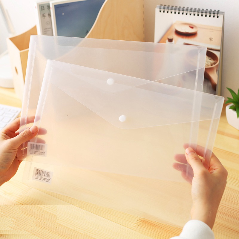 10Pcs Transparent PP Press Button Folder Documents Bag A4 File Cover Waterproof Business And School Filing Products Deli 5505
