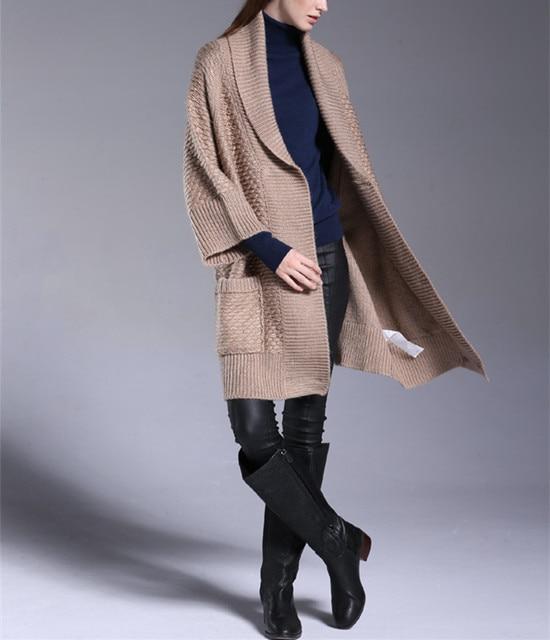 wool alpaca blend knit women s fashion elegant boutique long cardigan  sweater coat 3quarter sleeve one over size bb216dc29