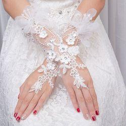 Braut Spitze Floar Handschuhe Hochzeit Kleid Zubehör Einfache Haken Finger Lange Handschuh Neue Charming