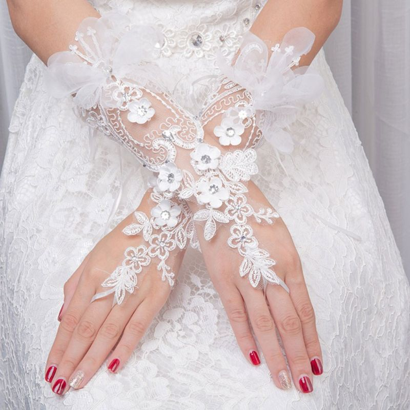 Bridal Lace Floar Gloves Wedding Dress Accessories Simple Hook Finger Long Glove New Charming