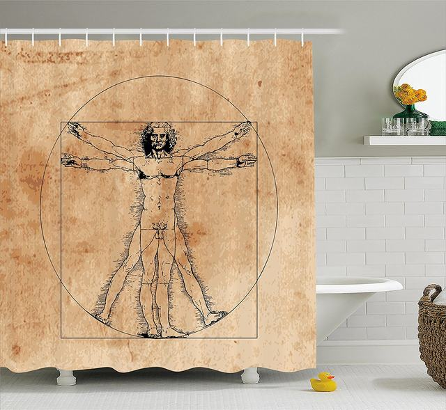 Human Anatomy Shower Curtain Medieval Vitruvian Man Crosshatching Famous Italian Painting Renaissance Body Fabric Bathroom Set