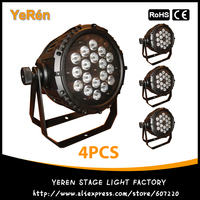(4 pces) impermeável exterior ip65 par64 led par luz 18*10 w 4in1 quad-color rgbw led par pode dmx 8chs
