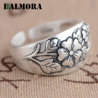 BALMORA New Retro 100 Real 990 Pure Silver Jewelry Flower Open Rings For Women Lover Party