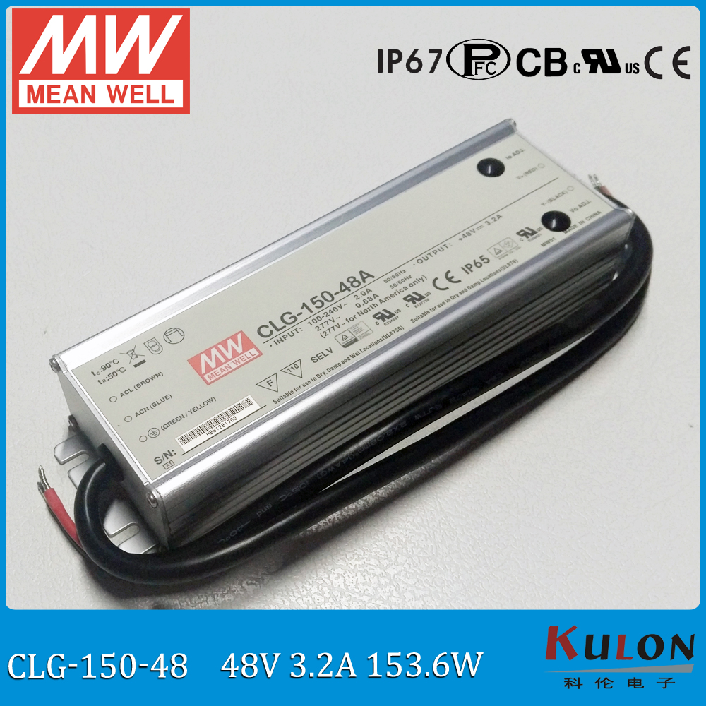 все цены на Original MEAN WELL 150W 48V IP67 waterproof LED driver CLG-150-48 150W 48V 3.2A PFC cable connected meanwell power supply 48V онлайн