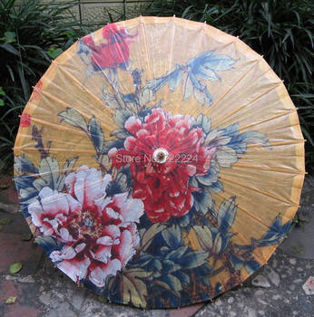 Oil Paper Umbrella | Free Shipping Chinese Handmade Long-handle Non-automatic Oiled Paper Umbrella Decorative Dance Props Water-proof Women Umbrella