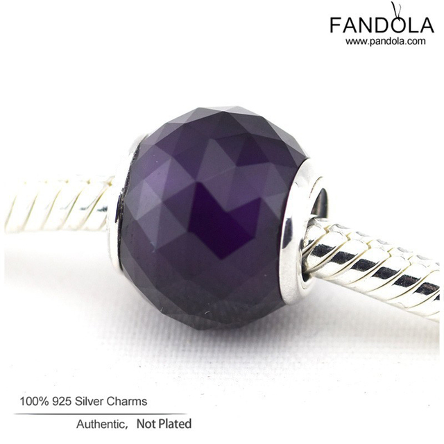Serve encantos pandora pulseira geométrica facetas royal purple crystal beads authentic 925 sterling silver charm diy fazer jóias
