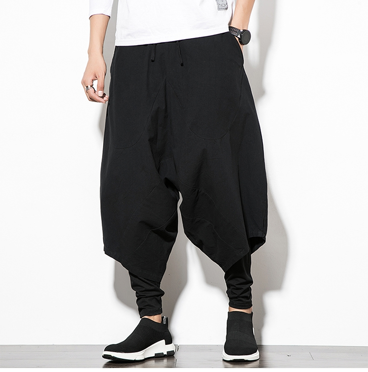MRDONOO Men Pants Men's Wide Crotch Harem Pants Loose Large Cropped Trousers Wide-legged Bloomers Chinese Style Flaxen Baggy 115
