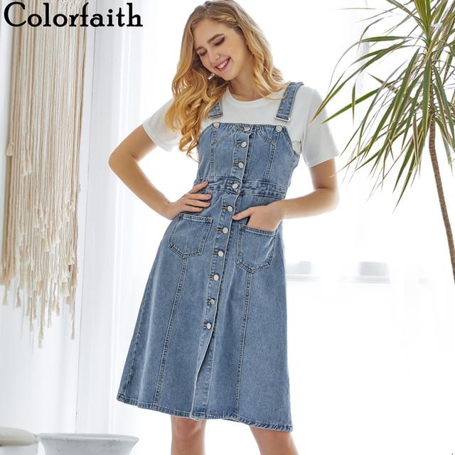 Colorfaith New 2019 Women Denim Dresses Spring Autumn Knee-Length Casual Ladies Strap Dress Overalls Pockets DR8851 1