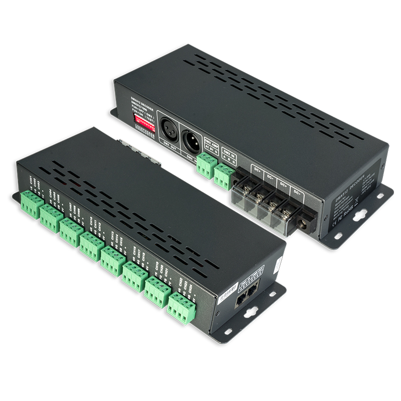 Новый ltech LED dmx декодер DC 5 В 12 В 24 В 24 канала 3A * 24CH 72A Выход DMX декодер RJ45 XLR 3 Выход 0 100% яркий светодиодный CV декодер