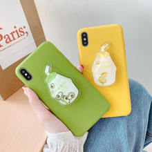3D Avocado Durian Drink Phone Case For iPhone 6 6S 7 8 Plus Cute Pattern Case For iPhone XS Max XR X Candy Color PU Soft Cover