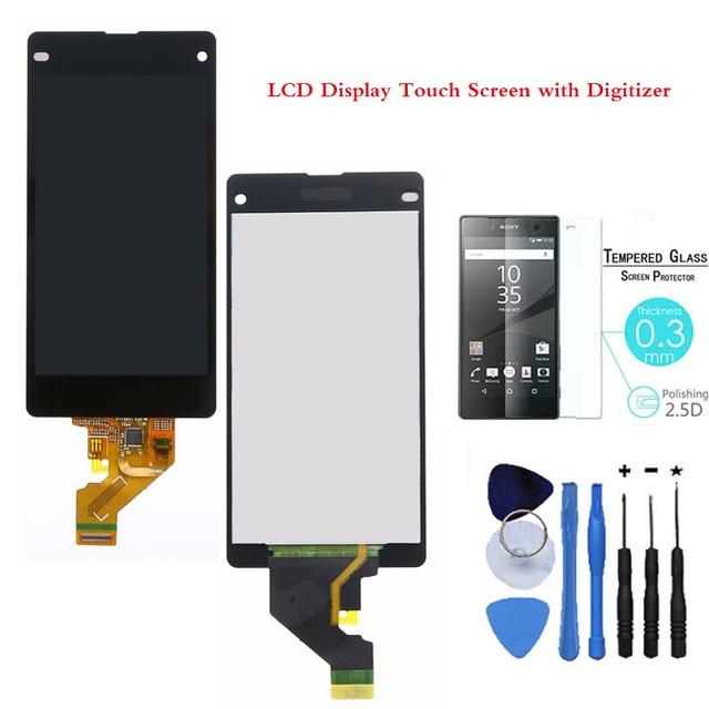 Teste de 100% aaa lcd preto para sony xperia z1 compact mini display lcd touch screen digitador assembléia vidro ttools + vidro temperado