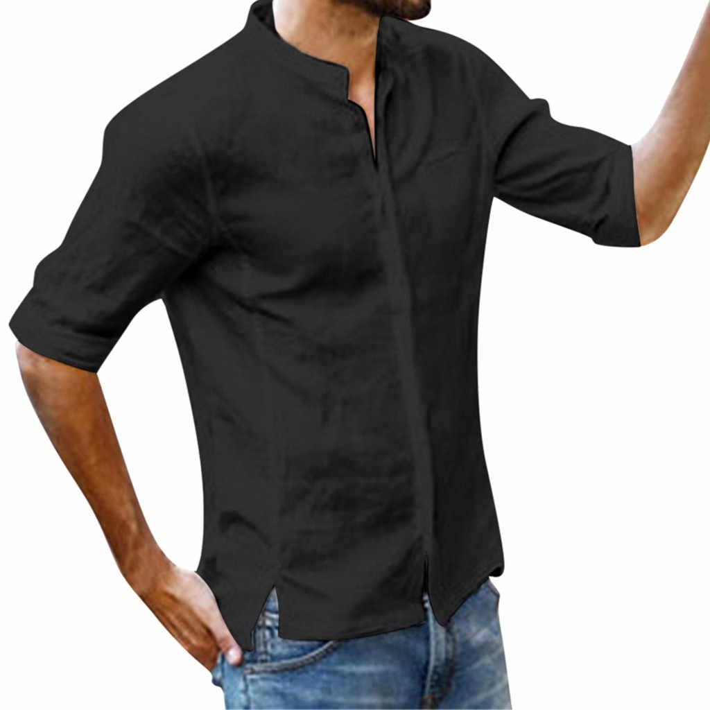 男性のシンプルなソリッドカラーのボタン前と不規則なファッション綿とリネン袖ブラウスドロップシップ May24