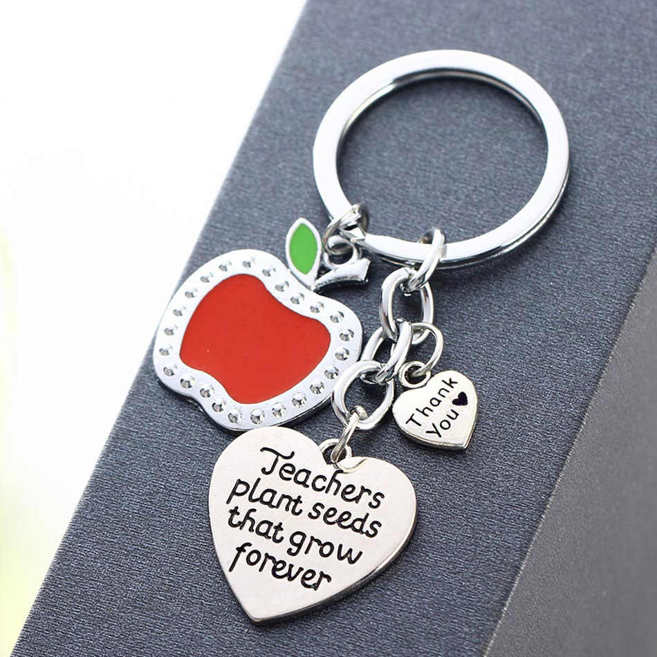 12 PCs ขายส่ง 'Teachers เมล็ดพืชที่ Grow Forever' ขอบคุณของขวัญสำหรับครูโรงเรียนออกจากของขวัญ Keychain Apple Charm