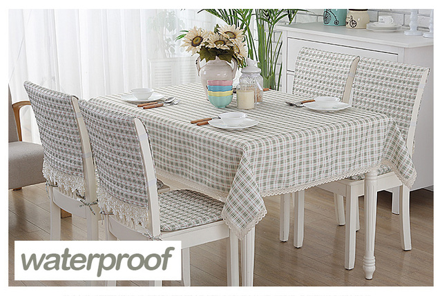 Linen Table Cover Fabric Square Tarpaulins Oilcloth Tablecloth Olive Checks  Green Plaid Grid Classic Floral Waterproof