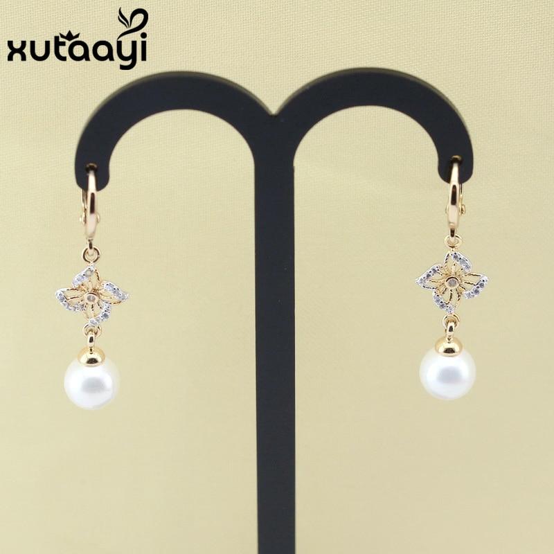 Ohrringe Sanft Modeschmuck Für Mutter Gold Farbe Und Weißen Kristall Ohrbügel Imitation Runde Perle Verlässt Ohrring-bänder Creolen