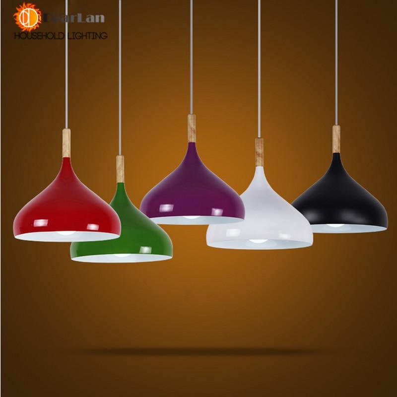 Moderne Holz Lampe Pendelleuchte Aluminium Lampenhalter Schwarz Weiss Gelb Silber Anhnger Licht Fr Esszimmer Wohnzimmer Vintage