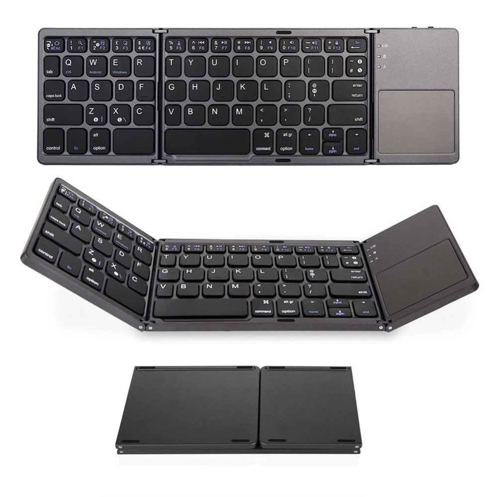 Bluetooth Keyboard Universal Folding Wireless Bluetooth 3.0 Ultra Mini Keyboard Touch Pad Mouse for iOS Android Microsoft