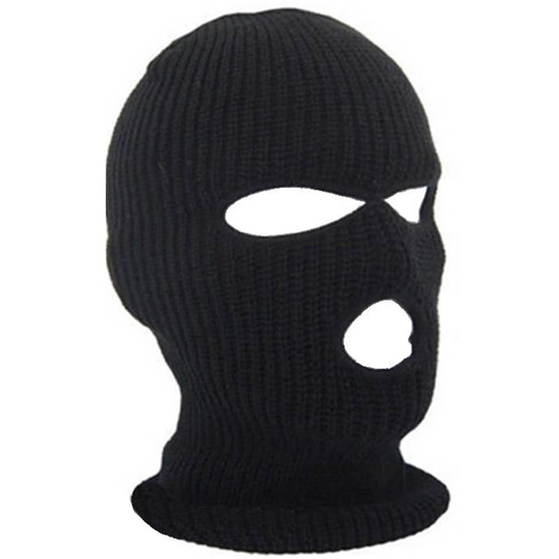3 Hole Hot Mask Balaclava Black Knit Hat Face Shield Beanie Cap Snow Winter Warm -Y107