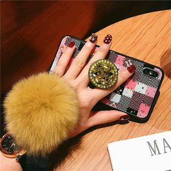 Air Bag Bracket Holder Phone Case For iPhone 8 7 6 6s Plus Case iPhone X XS Max XR Fashion DIY Back Cover With Fur Ball Lanyard 5