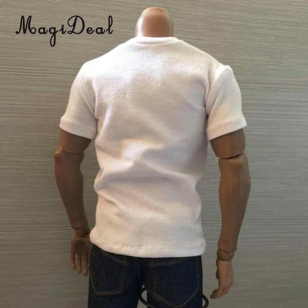 MagiDeal 1/6 스케일 코튼 망 슬리브 라운드 넥 짧은 티셔츠 탑 12 인치 액션 피규어 모델 인형 Acce 3 색