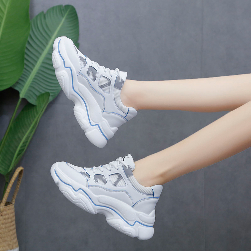 Women Autumn Platform Sneakers for Women Chunky Causal Dad Shoes Woman Thick Sole Ladies Vulcanize Shoe Laces Chaussures Femme in Women 39 s Vulcanize Shoes from Shoes