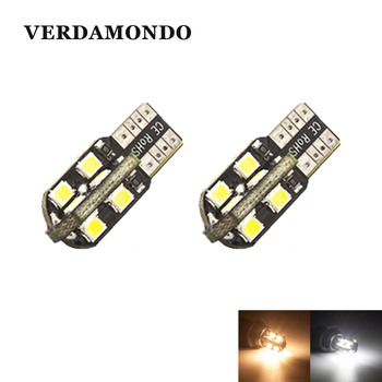 2X W5W T10 194 168 LED 16 2835 SMD Car Lights Dome License Plate Door Side Marker Lamp Clearance Bulbs 12V Warm White image