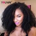 U Parte Peluca Afro Rizado Rizado Pelucas Del Frente Del Cordón U Parte Del Pelo Humano 7A 130% Corto Bob pelucas Rizado Rizado Pelucas de Pelo Humano Para Las Mujeres Negras