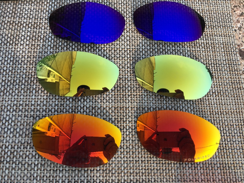 3 Pairs 24K Gold Blue Purple Fire Red Polarized Replacement Lenses Lens for Monster Dog Sunglasses