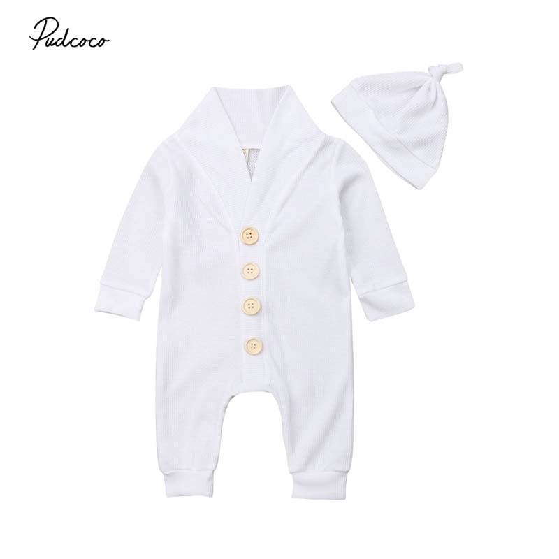 2020 Baby Autumn Winter Clothing 0-18M  Infant Baby Kid Boy Girl Knitted Romper Hat 2pcs Button White Single Breasted Jumpsuits