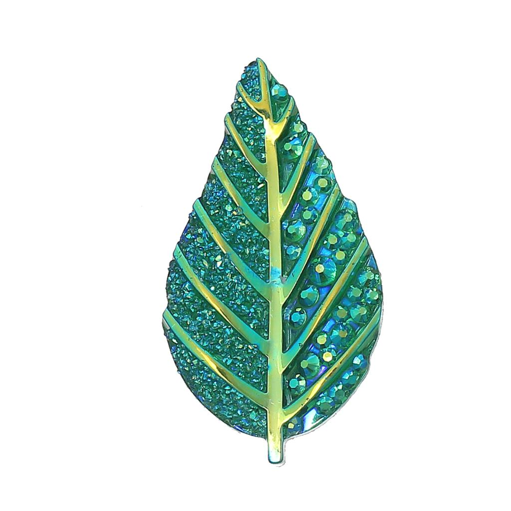 Resin Embellishments Findings Leaf Green AB Color Branch Pattern Faceted 42mm(1 5/8)x 22mm(7/8),30 PCs new