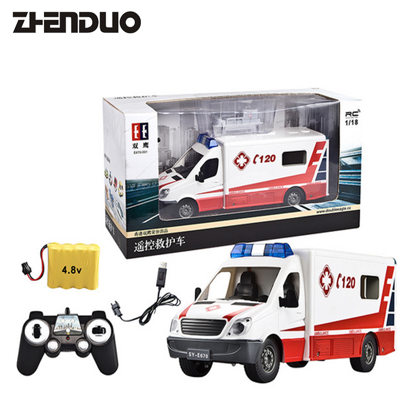 ZhenDuo Toys E670-001 Remote Control Ambulance First Aid Charging Car 1:18 Child Toy