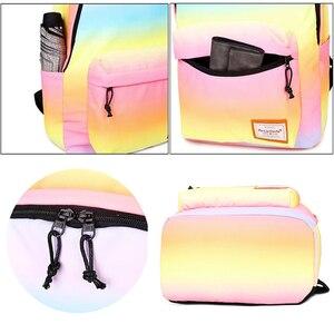 Image 5 - 2018 СКИОНЕ Цвет градиента    Школьные водонепроницаемые  многофунгционнальнные  рюкзаки для подростков  девочек  путешествий