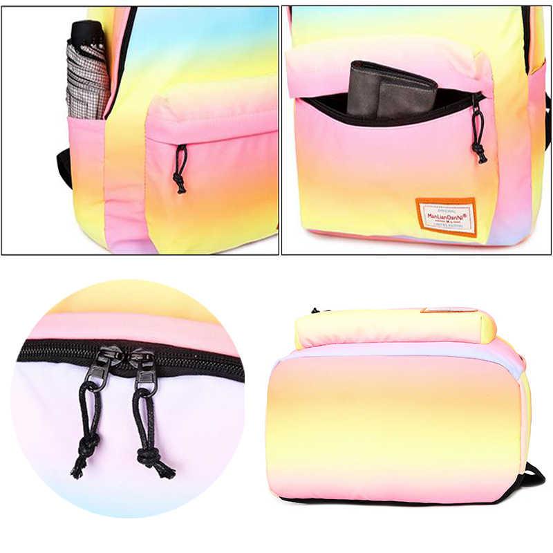 Scione Frauen Druck Rucksäcke Farbverlauf Schule Taschen Für Teenager Mädchen Schule Schulter Taschen Wasserdichte Bookbag Mochila